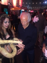 Sketchers Founder with Snake Charmer Katia